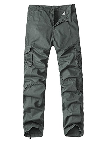 Menschwear Herren Cargo Hosen Freizeit Multi-Taschen Military pantaloni Ripstop Cargo da uomo (31,Grey) (Herren Jean Slim Us Polo Assn)