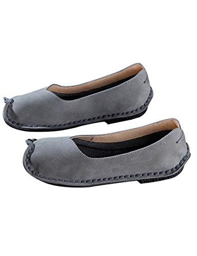 Youlee Femmes Fait main Chaussures plates en cuir Gris