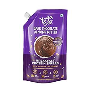 Yogabar Almond Butter | Dark Chocolate | Keto Choco Spread with Whey Protein, Iron & Magnesium | Bread Spread Made with 100% Natural Ingredients | Good with Sandwich, Cookies & Oatmeal - 200gm