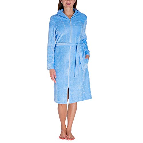 Aquarti Damen Bademantel mit Reißverschluss Lang, Farbe: Hellblau, Größe: L (Reißverschluss Bademäntel Damen)