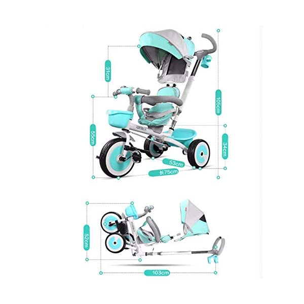GSDZSY - 3 IN 1 Children Tricycle With Rainproof UV Protection Awning And Detachable Push Rod, Rotating Seat And Fully Enclosed Rubber Wheel, 1-5 Years Old GSDZSY ❀ MATERIAL : High carbon steel + ABS + rubber wheel, suitable for children from 1 month to 6 years old, maximum load 30 kg ❀ FEATURES : The push rod can be adjusted in height, the seat can be rotated 360 ; the adjustable umbrella can be used for different weather conditions ❀ PERFORMANCE : high carbon steel frame, strong and strong bearing capacity; non-inflatable rubber wheel, suitable for all kinds of road conditions, good shock absorption, seat with breathable fabric, baby ride more comfortable 8