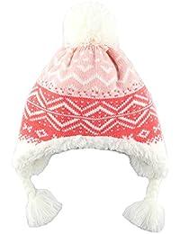 GGBaby@ Mädchen Mütze Ohrenklappenmütze Gefüttert Bommelmütze Strickmütze Baby Kinder 6 Monate-6 Jahre Wintermütze