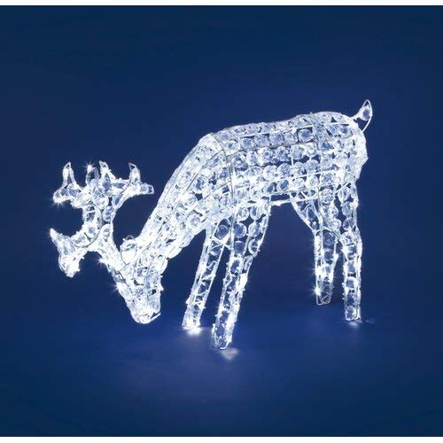 NEFFY SHOP Rentier mit blauen Kristallen, h 50 cm, 200 LEDs kaltweiß leuchtende Motive 3D Weihnachtsfigur Weihnachtsdeko