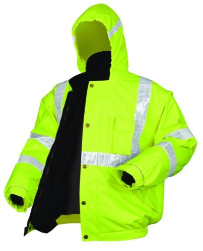 MCR Safety BPCL3LXL Luminator Class 3 Insulated Polyester 4-in-1 Bomber Plus Jacket with Zip-in Fleece Liner and Detach Sleeves, Fluorescent Lime Green, X-Large by MCR Safety 1 Fleece-liner