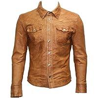 Stile casual in pelle Trucker camicia Tan Giacca di jeans da uomo