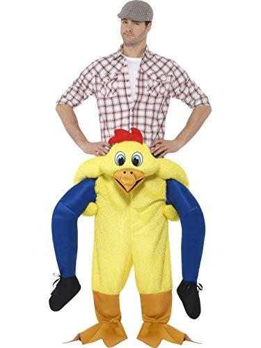 Mann Kostüm Huhn - Fancy Ole - Herren Männer Männer Huckepack Piggyback Kostüm, Huhn Henne Chicken trögt Dich, Einteiler Overall Jumpsuit, perfekt für Karneval, Fasching und Fastnacht, One Size, Gelb