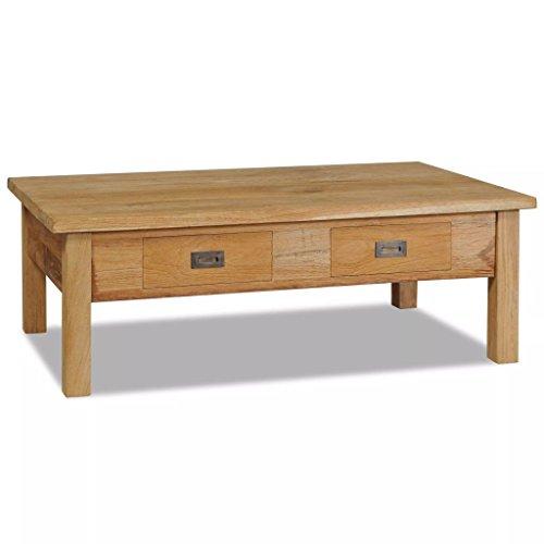 Lingjiushopping Table de Centre de Teck Massif 100 x 60 x 35 cm Deux tiroirs matériel : Teck Massif