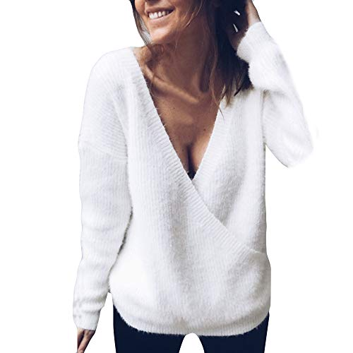 Feitong Damen T-Shirt Frauen V-Neck Lange Ärmel Strickpullover lose Pullover Jumper Tops Knitwear(EU-40/CN-M, Weiß)