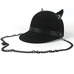 QianHaoQJu Lovely Sun Hats 100% Lana Negra Sombreros Fedora Gorra con cuernos del diablo Cute Cat Ear Hat Kawaii Sombrero Ecuestre Sombrero de béisbol (Color : Black, Size : 56-58cm)