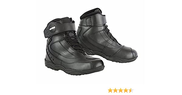 UK 7 // EU 41 PROFIRST LACE UP Full Black Zip Free 100/% Genuine Leather Waterproof Motorbike Boots Short Ankle Touring Motorcycle Shoes Casual Racing Sports Touring Cruise