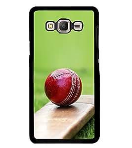 PrintVisa Cricket Bat Ball In Grass High Gloss Designer Back Case Cover for Samsung Galaxy E7 (2015) :: Samsung Galaxy E7 Duos :: Samsung Galaxy E7 E7000 E7009 E700F E700F/Ds E700H E700H/Dd E700H/Ds E700M E700M/Ds