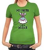ShirtStreet Gaudi Wiesn Damen Frauen T-Shirt Rundhals Oktoberfest - MEI Dirndl is in da Wäsch, Größe: L,apfelgrün