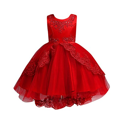 Beikoard Kleinkind Kinder Baby Mädchen Santa Print Prinzessin Kleid Weihnachten Outfits Weihnachtsmann Schneemann Party Abendkleid Brautjungfer Kleider (Rot-5, 110)