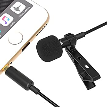 Sabrent Condenser Mic Lavalier / Lapel Clip-on Omnidirectional Condenser Microphone for iPhone & Android Smartphones or any other mobile device (AU-SMCR)