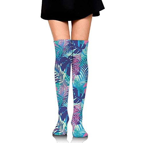 OQUYCZ Women Digital Neon Vivid Colored Island Oceanic Flowers and Leaves Decorative Concision High Boot Socks
