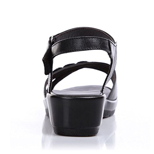 TAOFFEN Women Comfortable Slingback Open Toe Velcro Wedges Heel Summer Sandals 963 Noir