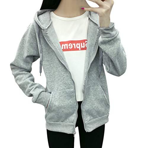 - Reine Baumwolle-ernte (ALISIAM Frauen Bequem Mode Übergröße Koreanische Pullover Reißverschluss Mantel Hoodie Reine Farbe Lose Ernte Kapuzenpullover Strick Jacke Sweatshirt)