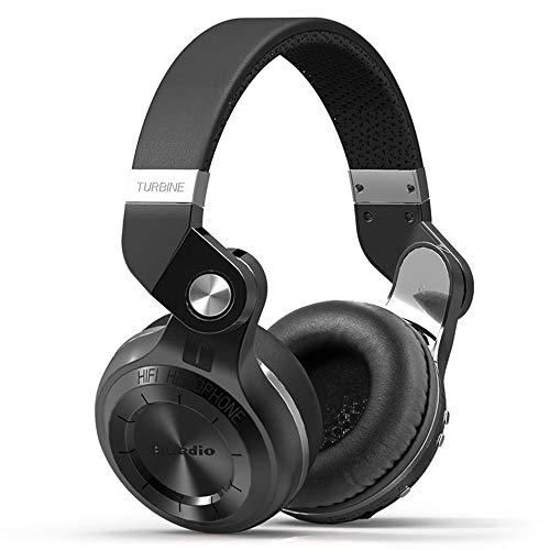 Q&N Bluetooth 5.0 Kopfhörer Turbine Kopfhörer Stereo Wireless Headsets mit Mikrofon (Rot/Schwarz/Blau/Weiß),Schwarz -