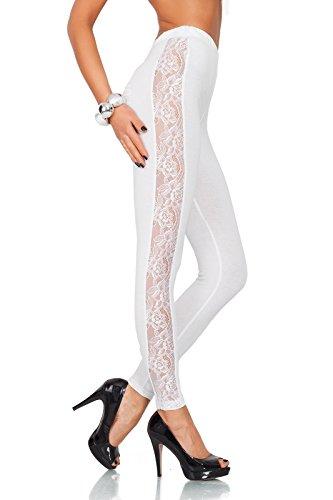 futuro fashion einzigartig voller Länge Baumwolle Leggins mit Spitze Streifen alle Größen Hosen elagent Mode Hose 8-20 UK lpl Weiß