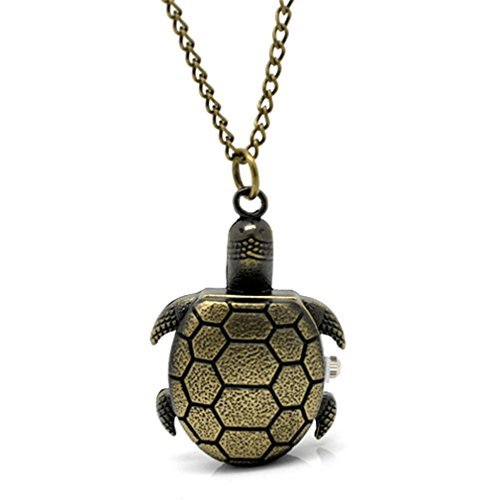 Souarts Bronzefarbe Schildkröte Antik Nostalgie Design Taschenuhr Klassische Vintage Mode Umhängeuhr Kettenuhr