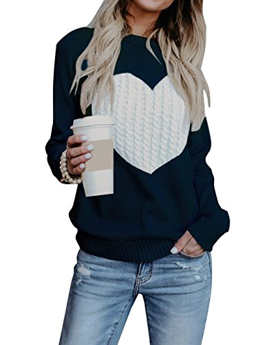 shermie Women Causal Heart Jumpers Cable Knitted Crewneck Cute Pullover Sweater