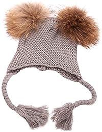 LOVELYOU Enfant Fille Garçon Bouffant Chapeau Ski Tricot,Bonnet Peluche  épais Beanie Skull Baggy Casquette fac323343b5