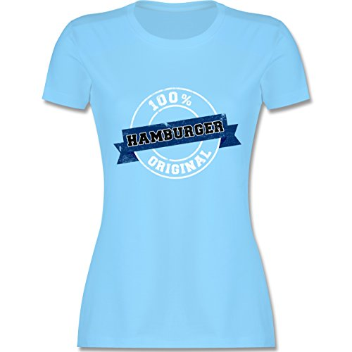 Shirtracer Länder - Hamburger Original - Damen T-Shirt Rundhals Hellblau