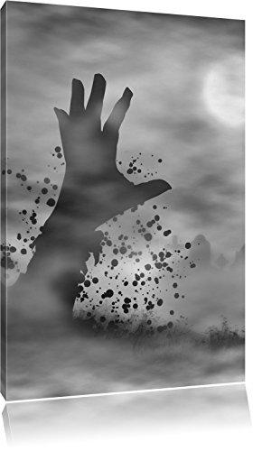 Monocrome, erwachender Zombie, Format: 60x40 auf Leinwand, XXL riesige Bilder fertig gerahmt mit Keilrahmen, Kunstdruck auf Wandbild mit Rahmen, günstiger als Gemälde oder Ölbild, kein Poster oder Plakat