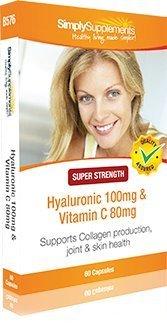 Acido Ialuronico 100mg | Vitamina C 80mg 60 Capsule| Per la cura e il benessere della Pelle e la salute delle Articolazioni Simply Supplements