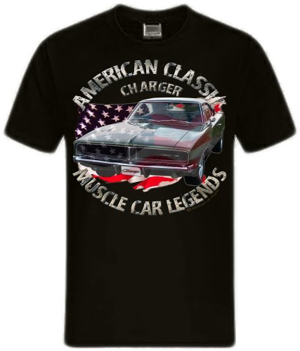 Classic und Modern Muscle car Dodge Charger Challenger V8 Mopar HEMI US car Shirtmatic charger 69 schwarz