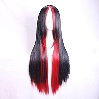 Womens Ladies Girls 70cm Straight Hair Black mixed with Red Gradient Color Long Straight High Quality Hair Carve Cosplay Costume Anime Party Bangs Full Sexy Wigs