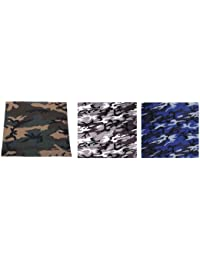 Lot de 3 bandana militaire US Army camouflage - Woodland + Urban + bleu - 55 cm x 55 cm - Airsoft - Paintball - Moto - Biker - Outdoor