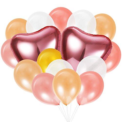 Toyvian 40pcs Surtidos Globos de látex de Color y 2 Piezas en Forma de corazón Globo de Papel de Aluminio con 4 Rollos de Cintas para el día de Valentin Boda decoración de la Fiesta de cumpleaños