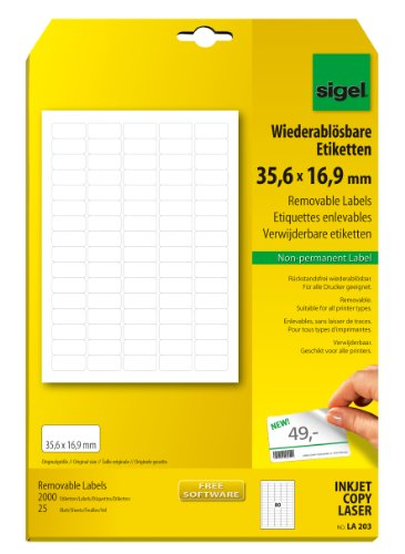 Sigel LA203 Ablösbare Etiketten weiß mini, 35,6 x 16,9 mm, 2000 Etiketten = 25 Blatt, abgerundet