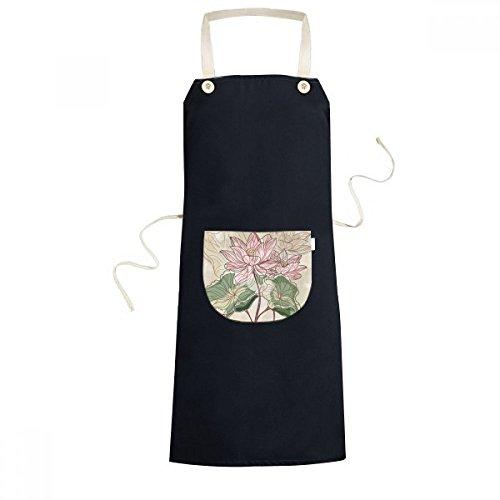 Lotus Root Flower (Lotus Flower Lotus Root Watercolor Plant Cooking Kitchen Black Adjustable Bib Apron Pocket Women Men Chef Gift)