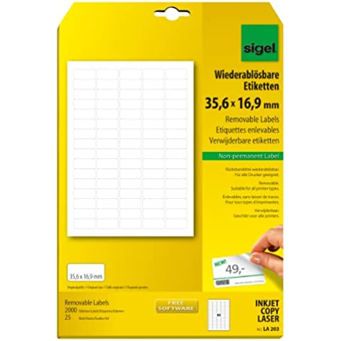 Sigel LA203 - Etiquetas despegables, 2000 unidades en 25 hojas, 35.60 x 16.90 mm (A4)