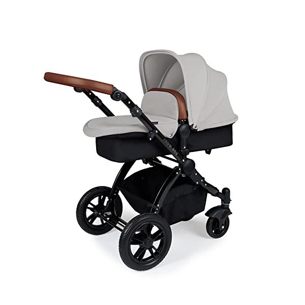 Ickle Bubba Stroller Stomp V3 iSize All-in-One iSize Baby Travel System | Car Seat w/ Isofix Base, Rear and Forward-Facing Pushchair, Carrycot | Silver on Black Frame Ickle Bubba All-IN-ONE TRAVEL SYSTEM: This stylish and attractive two tone complementary design features carrycot, reversible pushchair, and Mercury i-Size car seat. Easy-click release allows for quick transitions between car and stroller. Includes an ISOFIX Base. LIGHTWEIGHT WITH PUNCTURE FREE FOAM TIRES: : 6.5kg chassis with foam wheels allows for a smooth ride, includes an easy press and release single step foot brake locking system FORWARD AND PARENT FACING TODDLER SEAT WITH ALL WEATHER PROTECTION: Multi-position recline allows your child to lie comfortable for naps or sit upright to take in the sights. Protect from rain or shine with a collapsible weather cover. 2