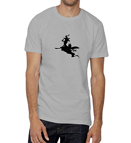 Halloween Witch Flight Shadow_007284 T Shirt Tshirt Men Men's Birthday for Him 2XL T-Shirt Grey Men