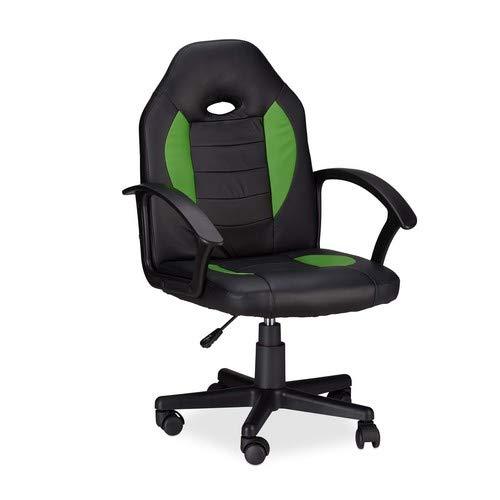 Relaxdays Gaming Stuhl XR7, 360° Drehstuhl für Gamer, höhenverstellbarer Bürostuhl bis 120 kg, Racer Optik, schwarz-grün