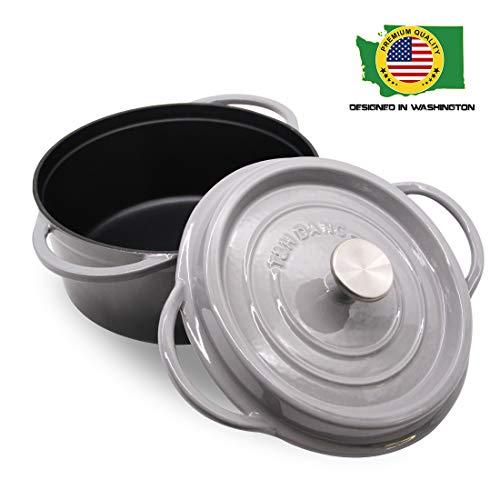 T&H Danc Schmortopf mit Deckel, emailliert, Gusseisen 7.5-Quart-No mat grau - Kochgeschirr Keramik Emaillierte