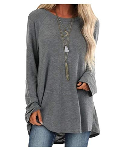 Energy Women's Solid Over Sized Crew-Neck Long Sleeve Patch Baggy Tunic Top Tees Grey XS -
