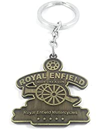 Key Era Double Sided Royal Enfield Bronze Colour Metal Keychain & Keyring For Bikes, Cars, Bags, Home, Cycle,...