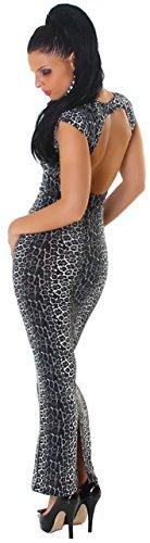 Jela London Damen Kleid im Leo-Look mit tiefem Rückenausschnitt leo schwarz