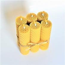 Velas de 100% Cera De Las Abejas Tamano 13 x 3 cm Juego de 6 Velas 100% Naturales Aroma De Miel/Cera 100% Hecho A Mano