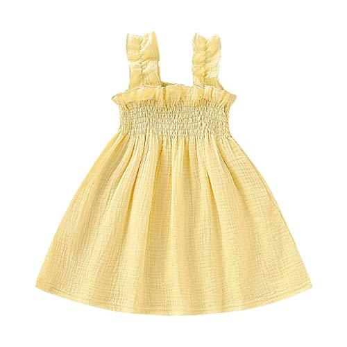 Alwayswin Kleinkind Kind Baby Beiläufige Kleider Feste Rüsche Kleid Sleeveless Leinenbügel Kleid Einfarbig Sling Wildes Kleid Sommer Bequemes Maxikleid Geburtstag Festkleid