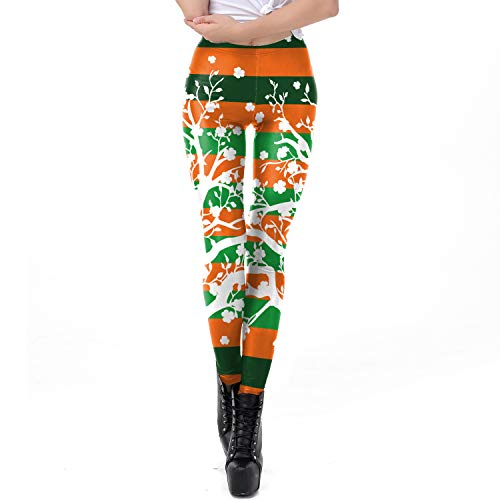 GROSSARTIG Frauen St.Patrick's Day Grün vierblättriges Kleeblatt Leggings 3D gedruckt Yoga Hose Strumpfhosen Sport Weihnachten Muster rot grün Nähte Streifen Fitness