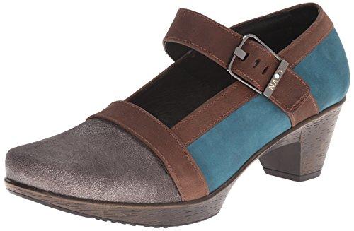 Gray Shimmer Teal Nubuck/Carob Brown Leather, 36 EU ()