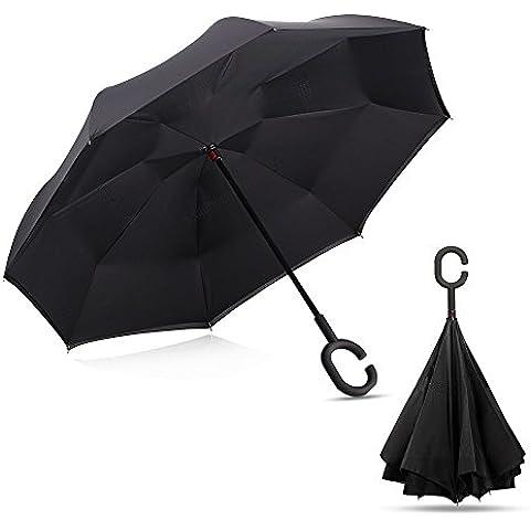YUMOMO Doble capa de paraguas invertido, paraguas de viaje Fuerte protección impermeable / Uv