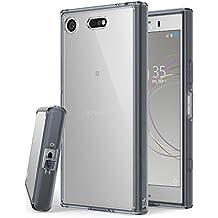 Funda Sony Xperia XZ1 Compact Ringke [FUSION] Transparente al dorso del PC y frente al TPU [Tecnologia para proteccion a la caida] protectiva con armadura mejorada para XZ1 Compact - Gris Smoke Black