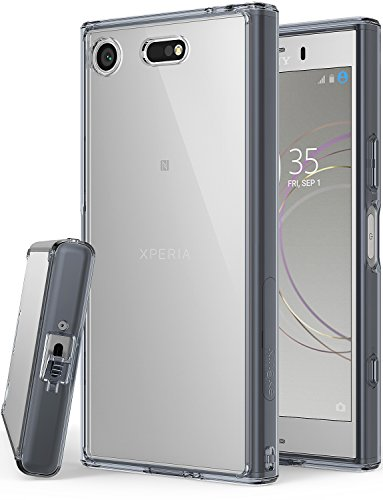 Fusion Cover (Ringke Fusion Kompatibel mit Xperia XZ1 Compact Hülle Klar PC TPU Dämpfer Cover XZ1 Compact Schutzhülle Case (Schock Absorbtions Technologie) für Xperia XZ 1 Compact Handyhülle - Smoke Black)